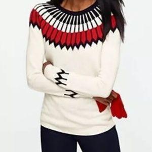 Talbots Fair Isle Sweater L Ivory Red Navy Wool